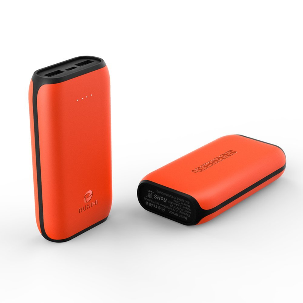 RUKINI Portable Phone Charger iSmart External Battery Pack Power Bank Charger 10000mah with 2 USB Outputs LED Flashlight for iPhone 6s plus Samsung HTC Motorola Orange