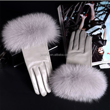 Colocasia color leather gloves/ ladies leather gloves with fox/raccoon fur cuff
