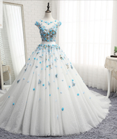 Fashion Capped sleeve lace flower wedding dress ball gown bridal gown TS305