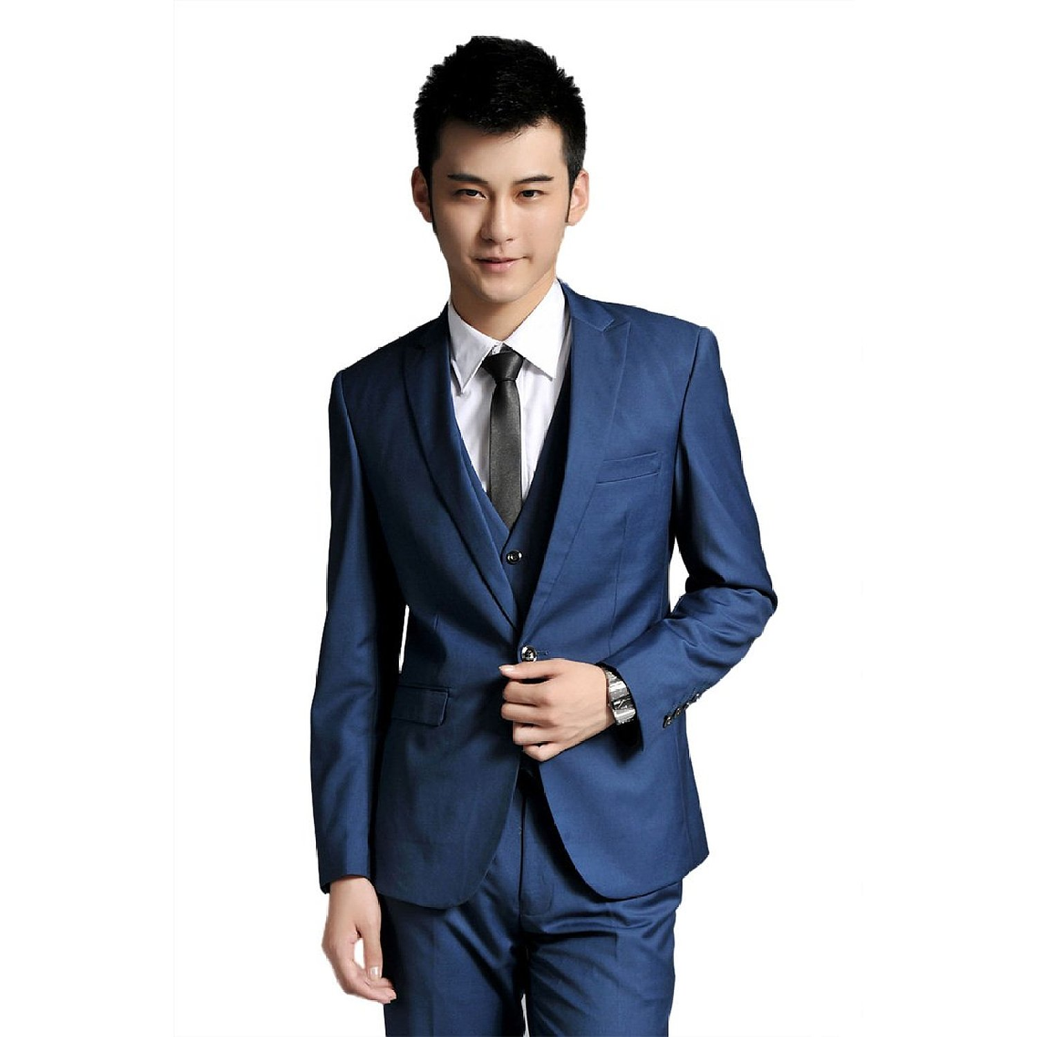 Korea edition blue men 39 s business casual suit groom 39 s best for Casual wedding dresses for man