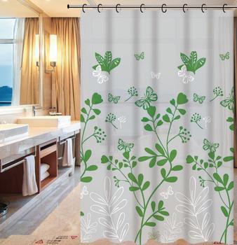 Liquidation Overstock Surplus Green Leaf Curtains Design PE Bath Shower Curtain 2018 Different Styles
