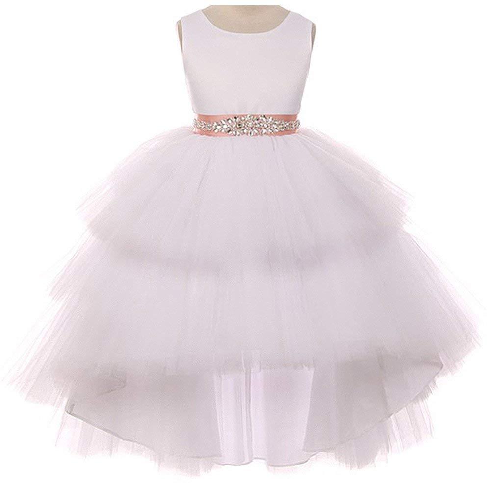 93db1b1b6 Get Quotations · CrunchyCucumber Satin Bodice Hi-Low Layers Tulle Skirt  Rhinestones Satin Sash Flower Girl Dress