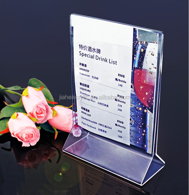 Hot Sell Table Top Acrylic Menu HolderAcrylic Menu StandLucite - Acrylic menu table tent holders