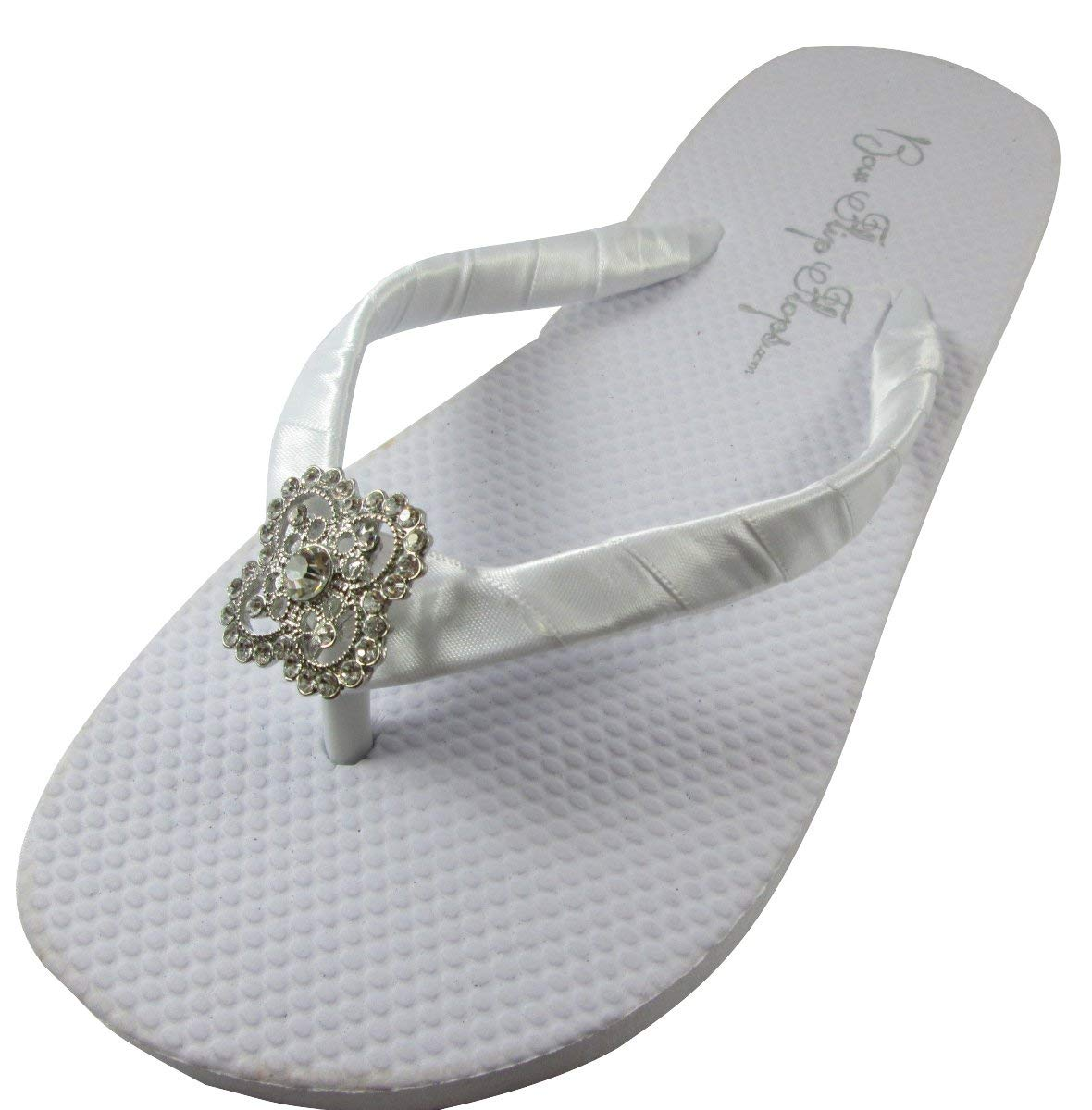 eb8cce4dcd0f00 Get Quotations · Square Filigree Rhinestone Embellishment Flat Flip Flops  with Satin Ribbon- custom color