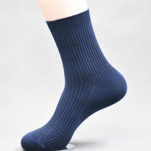 GSM-1461 Navy color men socks solid color knitted calf style dress socks one size fits most for wholesale