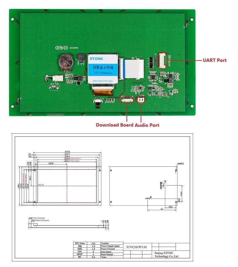 10 inch Display TFT LCD Touch Panel with Driver + Controller + Serial Interface