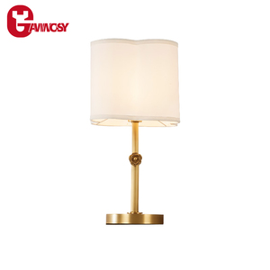 Simple Modern Table Light Beige Fabric Copper Bedroom Decoration Lamp