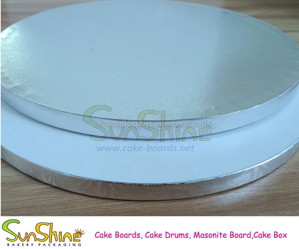 "Silver Round Cake Drum Boards 1/2"" 12mm Thick For Birthday"