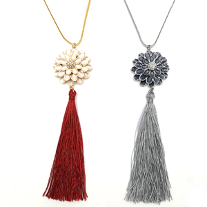 Youthway fashion womens long chain gold plated red silk tassel necklace pearl enamel zinc alloy flower pendant necklace
