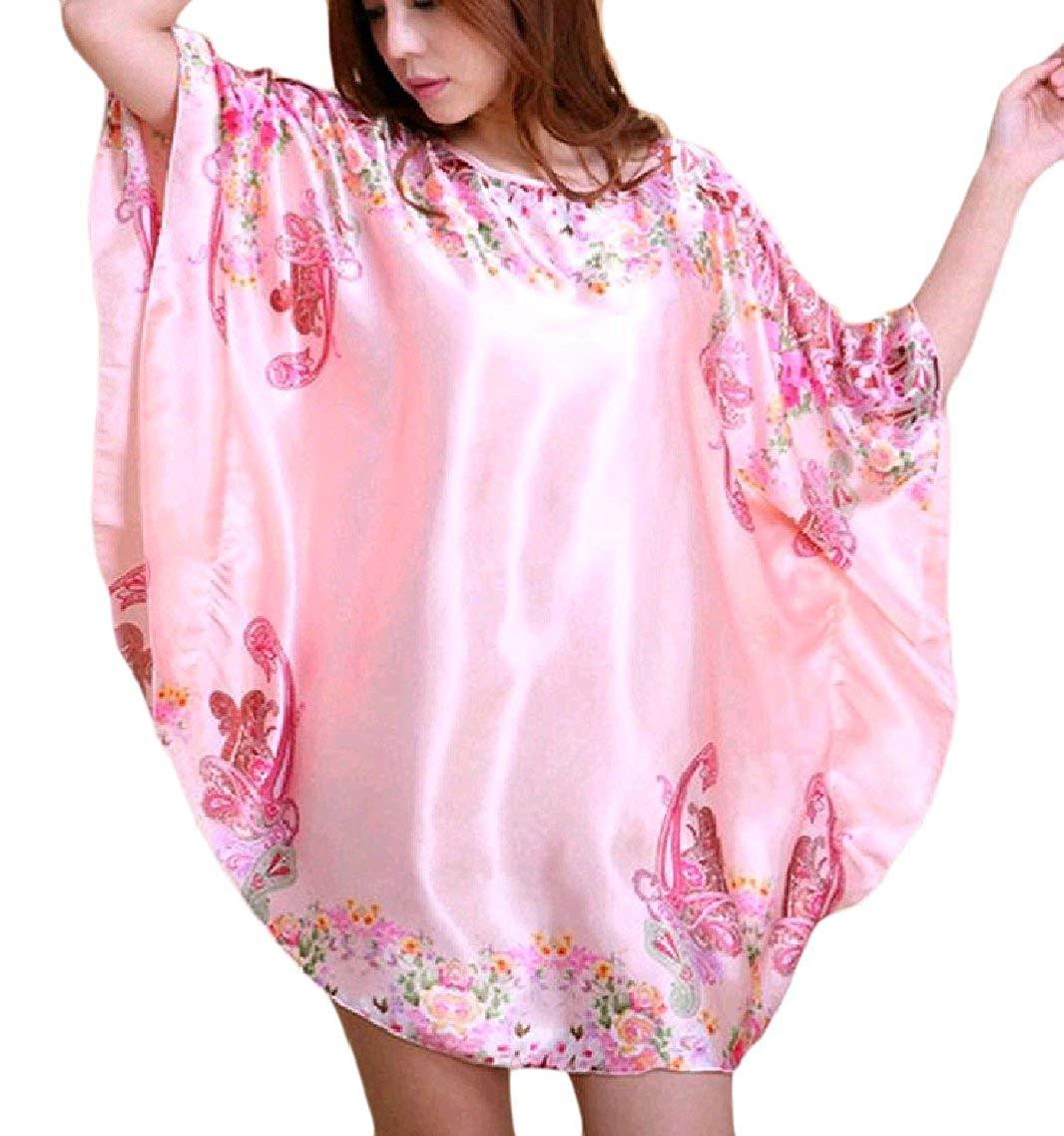 111105a623 Get Quotations · Zago Womens Irregular Floral Print Silk Comfy Nightwear  Dress PJS Pajama