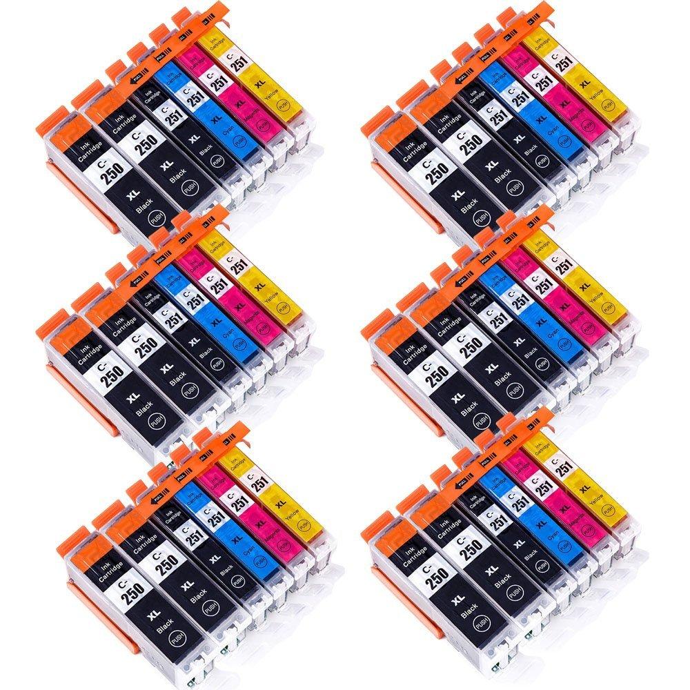 Wolfgray 36 PK Compatible Ink Cartridge PGI-250XL CLI-251XL for PIXMA MX922 MG5522 MG5620 MG6620 MG6600 MX920 iX6820 iP7220 (12Large BK+6BK+6C+6M+6Y)