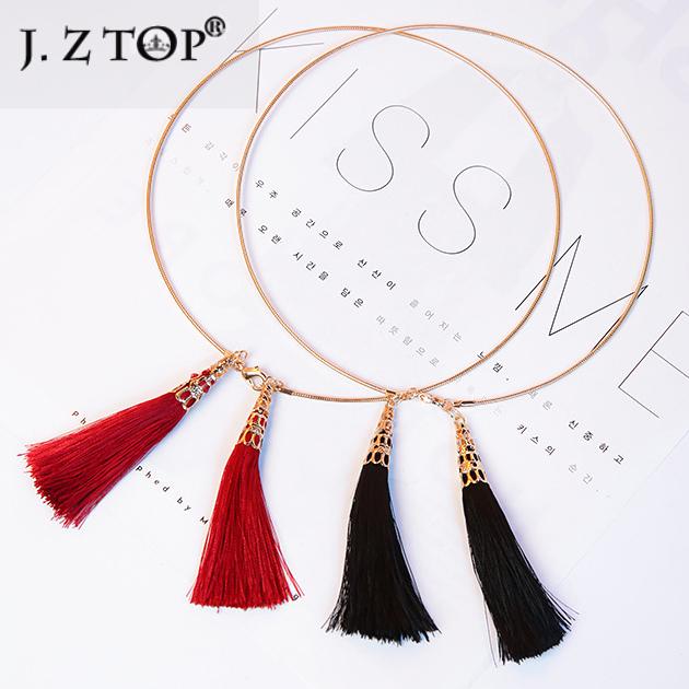 Новое Прибытие Черный Красный Кисточкой Ключицы Цепи Воротник Колье Моды Личности Металлические Геометрические Короткие Ожерелья Подвески Для Женщин