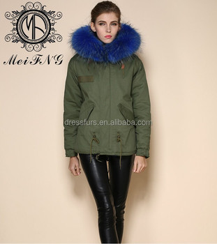 2017 Wholesale Army Jacket Short Jacket Faux Fur With Raccoon Fur ...