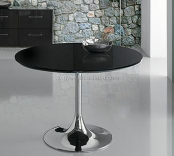 Home Furniture Modern Dining Tables Chromed Metal Base Black Tempered Gl Round Table Centre