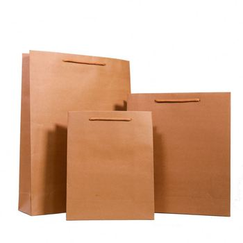 China Supplier Cheap Paper Packaging Bags, Custom Recycled Kraft Paper Bag, Twisted Handles Kraft Grocery Paper Bag