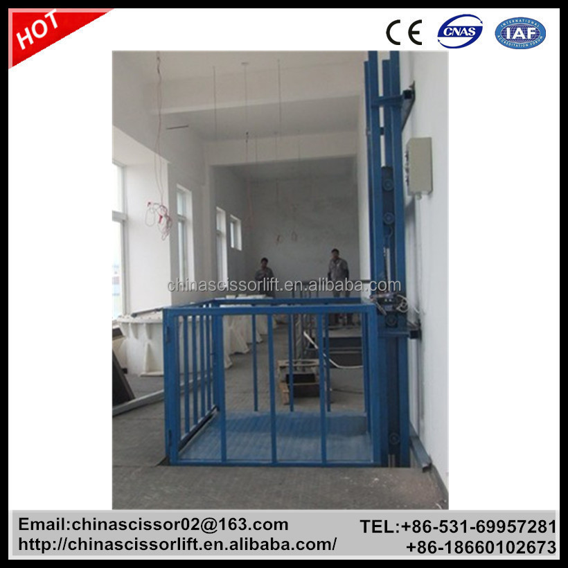 Hydraulic warehouse freight elevator with safety protect for 2 story elevator cost