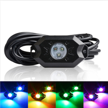 Wholesale 6 pods RGB Color changing underglow car lights led glow neon rock light bluetooth control led trail fender light