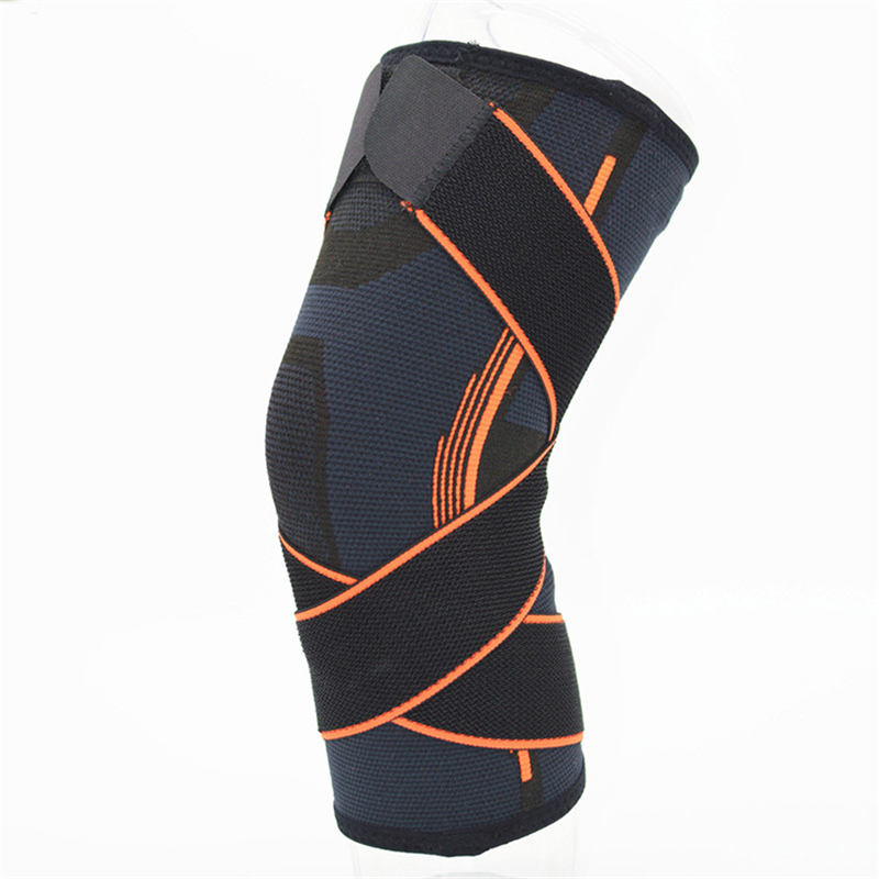 3D weaving Adjustable Pressurization Silicone Knee Pads Basketbnall Tennins Hiking Cycling Elastic Knee Brace Support