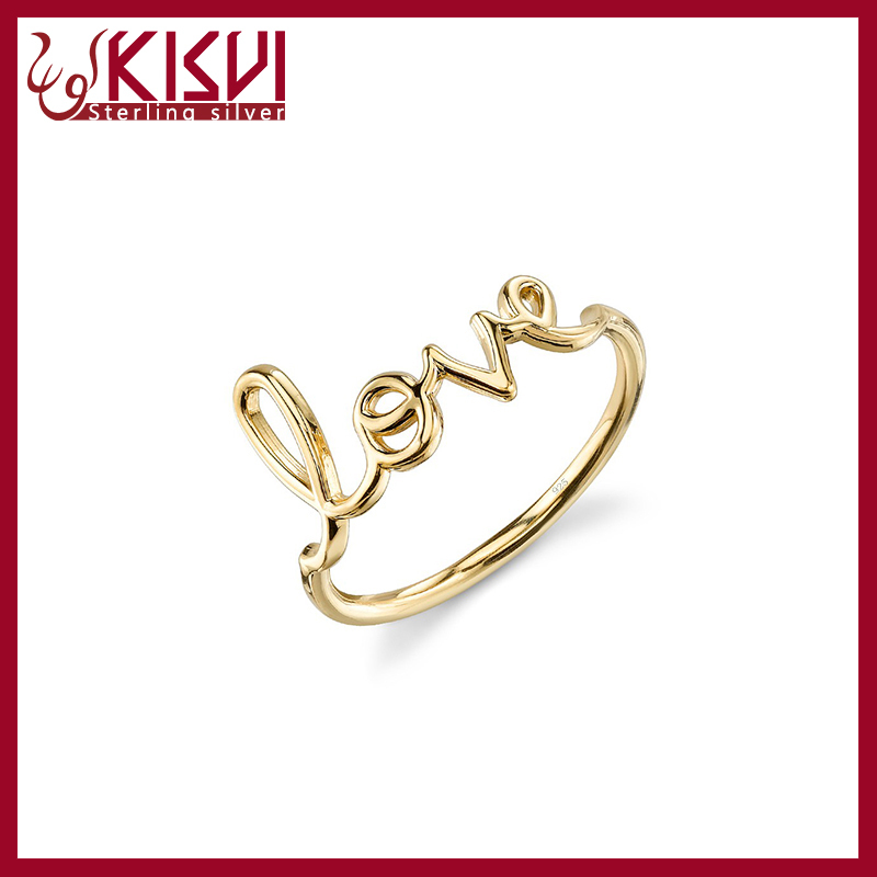 Fashion 925 Kisvi Factory Sterling Silver Gold Finger Ring Without ...