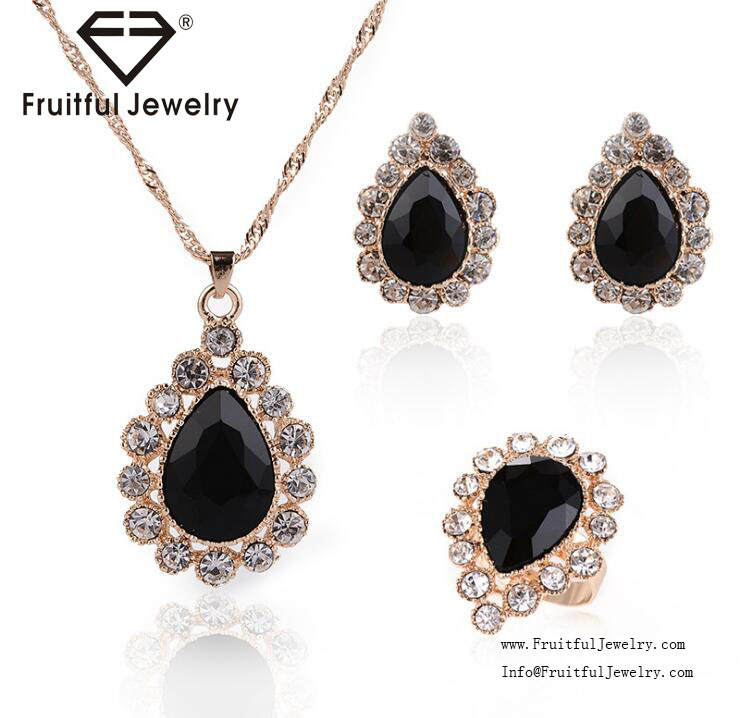 yiwu new lady water drop crystal jewelry set black rhinestone necklace earring ring sets for evening party