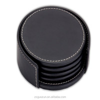 Drink Pu Leather Cup Coaster Sets in Round Shape / Custom Coasters