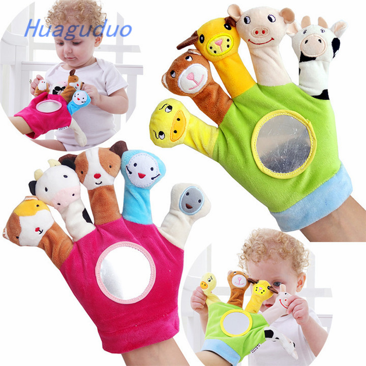 Factory price toys for baby Gloves doll hand puppet bulk wholesale funny cute small plush <strong>animal</strong>