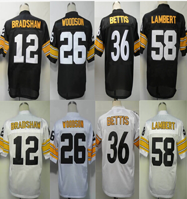 44d98870473 Pittsburgh Men's Authentic Throwback #12 Terry Bradshaw #26 Rod Woodson #36  Jerome Bettis