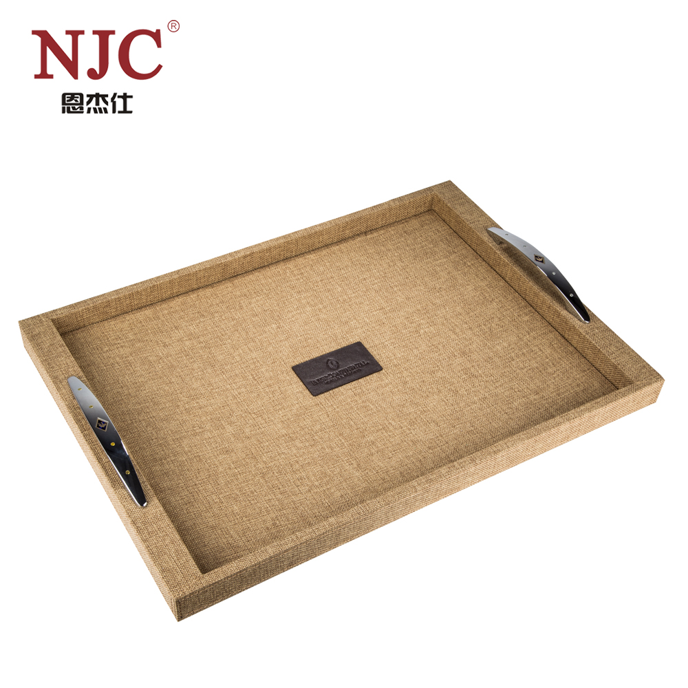 Luxury selection handmade PU leather serving tray hotel supply, hotel amenity tray suppliers