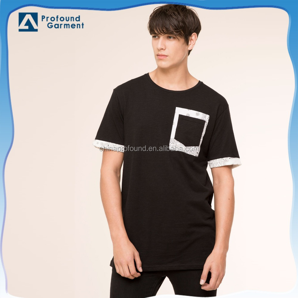 Casual Black Plain Men Custom Pocket T Shirt In Different Color