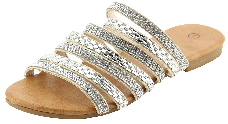 83e53f374750e Get Quotations · Cambridge Select Women s Open Toe Strappy Crystal  Rhinestone Slip-On Flat Slide Sandal