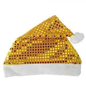 HuntGold 2X Paillette Sequins Design Christmas Cosplay Santa's Party Happy Soft Warm Hat Cap(gold)