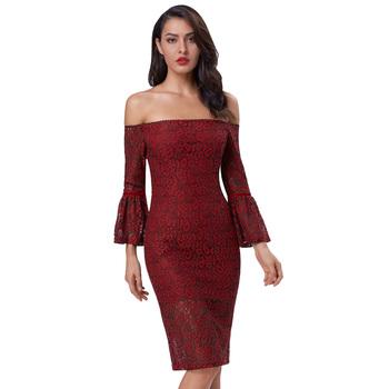 593954c5cd96 Kate Kasin Womens Sexy Lantern Sleeve Off the shoulder Wine Red Lace Dress  KK001049-1
