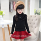 Red black cony hair half-collar free knitted kids fancy sweater girls patterns design 2016