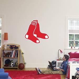 "Boston Red Sox FATHEAD ""Red Socks"" Logo Official MLB Vinyl Wall Graphic 18""x17"" INCH"
