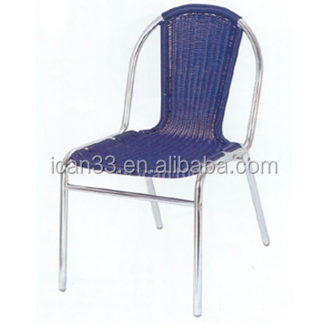 Blue wicker rattan armrest stacking dining chairs for out door restaurants furniture (DC-06207)