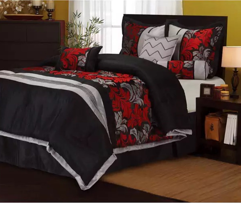 7 Piece Damask Fl Design Comforter Set Cal King Size Featuring Beautiful Leaf Zigzag Solid
