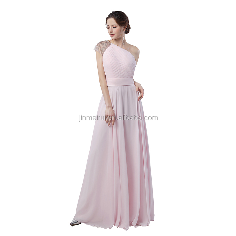 2018 High Quality Long Gown One Shoulder Floor Length Ruffles Appliqued Chiffon Women Prom Dress