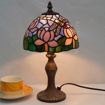 8inch Tiffany Style Stained Glass Table Lamp With Dragonfly Design
