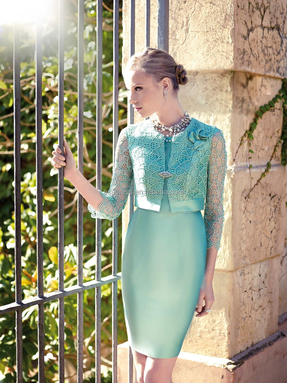 Cr24 Top Quality Elegant Mint Green Knee Length Lady Evening Gowns ...