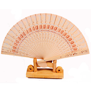 QS brand sale classical elegant high quality fold wood engrave sandalwood hand fan