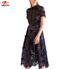Wholesale Factory Price Clothing Self Women Hollow Out Patchwork Sexy Lace Dress Female Vestidos Fashion Ladies Dresses
