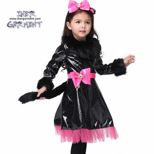PU leather Kitty cat costume for halloween for kids IH-K110 Cool party animal costumes