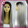 brazilian virgin human hair full lace straight wig for black woman 1b and grey straight hair wig