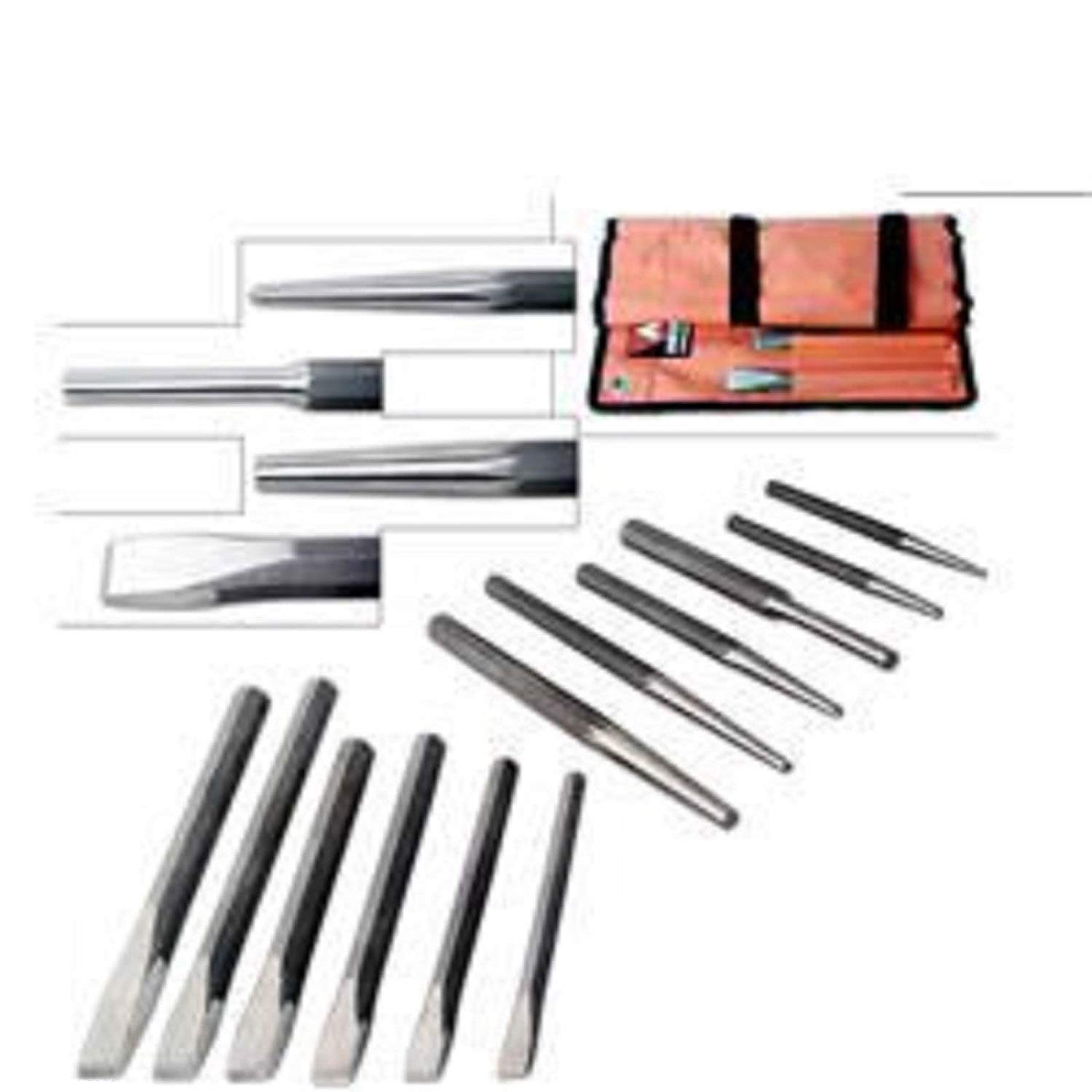 "ESKALEX>>12 pc Heavy Duty Punch & Chisel Set cold taper center pin w/Pouch and 6 Cold Chisels: 1/2""x6"", 5/8""x7"", 3/4""x8"", 7/8""x8"", 7/8""x10"", 1""x10""3 Taper Punches: 1/8""x6"", 7/32""x10"", 3/8""x10"""
