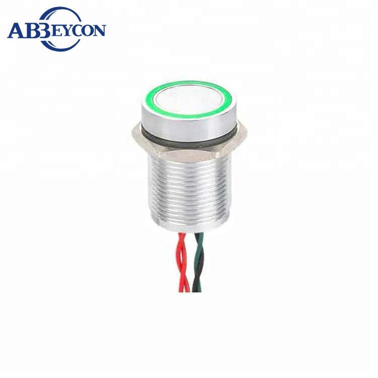 Piezoelectric Button 16mm LED Blue 12v Car Bike Latching switch