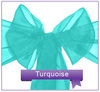 Turquoise wedding organza chair sash for chair cover