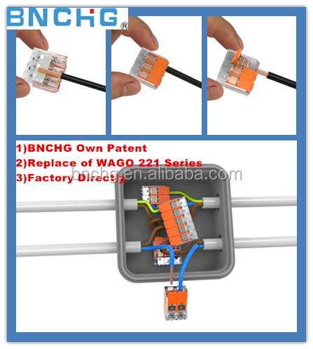Made in China Wago Push In Electrical Wire Connectors 40% smaller 100% transparent 221 series Wago type
