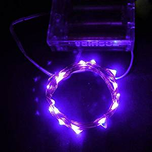 LEDniceker Battery String Lights, AA Battery Powered Fairy Light 20 LED 7ft Copper Wire Starry Christmas Light, Purple(Battery not Included)