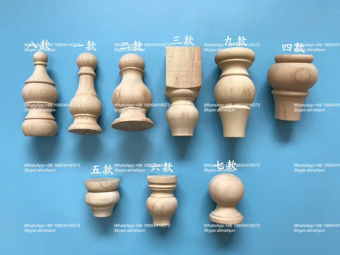 Good Quality Wooden Furniture Legs Bun Feet Round Wooden Legs