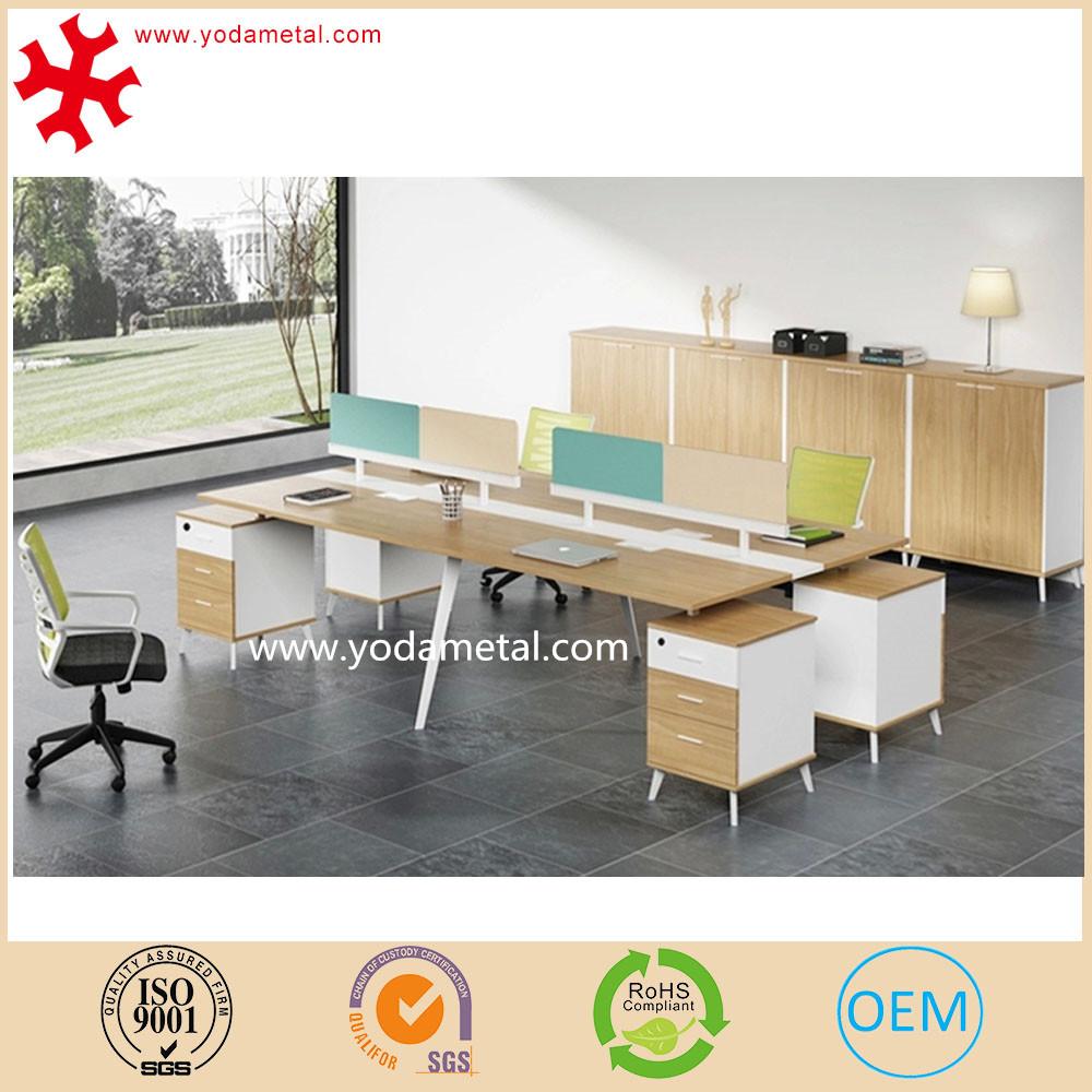 Classique modulaire mdf panneau de bois 4 personnes for Bureau 4 places